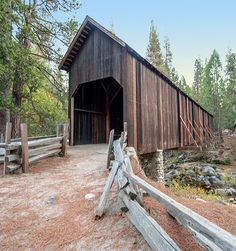 The Wawona Covered Bridge spans the South Fork of the Merced River at the Pioneer Yosemite History Center in Wawona, Yosemite National Park. It was constructed by Galen Clark, original guardian of the Yosemite Grant, in 1868 to service local horse, stock and pedestrian traffic, as well as the trail to Yosemite Valley.