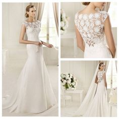 Jewel Neckline Mermaid Style with Exquisite Lace Back Wedding Dresses