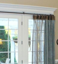 embroidered linen. silk sheer. silk banding. barley twist iron.  french door window treatment solution.  {www.virginiagail.com}