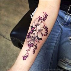 Classic Orchid Flower Tattoo On Arm