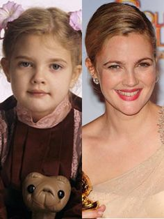 Drew Barrymore-Still the same, just older. // what a cutie she was and still is.  Love her!