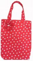 Red Hearts Print Shopping Bag