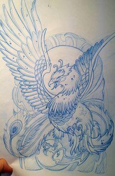 Inspiration tatouage: Photo - Inspiration de tatouage: Photo Más Les images impressionnantes de dragon tattoo que l'on propose - Tattoo Sketches, Tattoo Drawings, Body Art Tattoos, Sleeve Tattoos, Phoenix Tattoo Sleeve, Crow Tattoos, Phoenix Tattoos, Ear Tattoos, Wing Tattoos