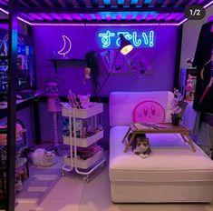 Cute Bedroom Decor, Bedroom Setup, Room Design Bedroom, Room Ideas Bedroom, Otaku Room, Neon Room, Cute Room Ideas, Gaming Room Setup, Kawaii Room