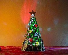 ガラスのクリスマスツリー☆LEDライト付き