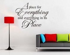 wall sticker decal -YYone A Place for Everything and Everything in its Place vinyl lettering wall sayings art decor decal sticker word