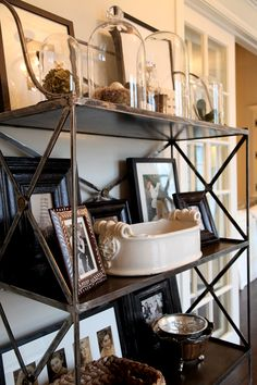 black and white on metal baker's rack #countryfrenchkitchens