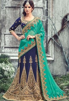 Navy Half Net, Raw Silk Designer Saree..@ fashionsbyindia.com #designs #indian #fashion #womens #style #cloths #fashion #stylish #casual #fashionsbyindia #punjabi #suits #wedding #saree #chic #elegance #beauty #outfits #fantasy #embroidered #dress #lehenga #choli