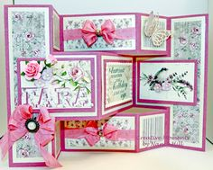 Creative Moments by Nancy Hill: Birthday Card using Tattered Lace Shutter Card die set Tri Fold Cards, Fancy Fold Cards, Folded Cards, Romantic Birthday Cards, Handmade Birthday Cards, Card Birthday, Trifold Shutter Cards, Tattered Lace Cards, Anna Griffin Cards