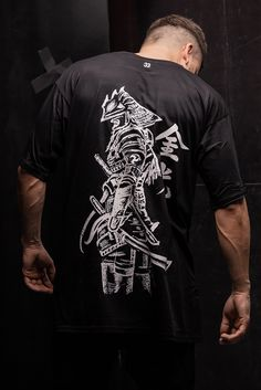 Soft Modal & Cotton T-shirt with a samurai printed on the back side. Tailor Shop, Printed Shirts, Samurai, Wicked, Prints, Cotton, Mens Tops, T Shirt, Supreme T Shirt