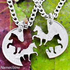 Cowgirl Horses Best Friends Necklace set from a Coin by NameCoins