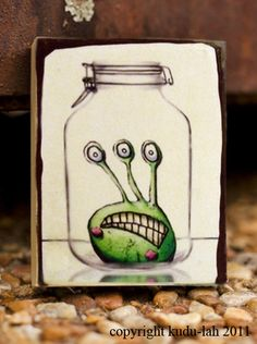 i like the idea of drawing something in a jar like this.... maybe a bug or butterfly