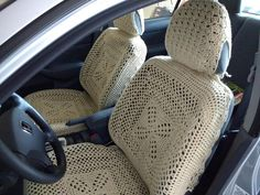 Set of 6 Crochet Car Front Seat Covers - oatmeal (CFSC2sets-1A) by ytang on Etsy