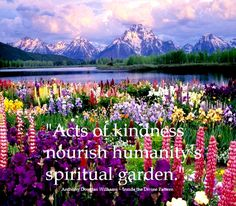 acts of kindness nourish humanity's spiritual garden. -Anthony Douglas Williams