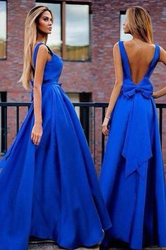 Sexy A-Line V-Neck Sweep Train Backless Royal Blue Prom Dress with Bowknot Pleats