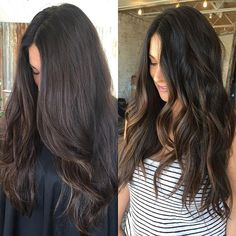 hilite + tone  hilited this beauty with foils and sandwiched balayaged pieces in foils in the back. lifted to a lemony level 8, and toned to a creamy level 7. if you're a brunette that strays away from hilites... let this be the example that dimensional brunettes do it better!  #pasorobleshair #pasorobles #randco #randcohair #balayage #handpainted #livedinhair #richcolor #dimensionalcolor #beachyhair #beachwaves #hanzonation #bronde #brunette #hilights #hilites #seamless #hairpainting…
