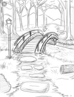 bridge_over_he_river_wip ___ × - Zeichnung ideen bleistift - Drawing Cool Art Drawings, Pencil Art Drawings, Drawing Sketches, Drawing Ideas, Easy Nature Drawings, Drawing Tips, Easy Simple Drawings, Pencil Drawing Tutorials, Drawings Of Hands