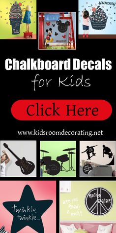 Decorating kids rooms has never been easier! These chalkboard wall decals make decorating your kids walls easy. Simply peel and stick. They function just like full-sized chalkboards but can be repositioned at any time. #kidsrooms #chalkboards