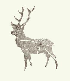 Wood Grain Stag Art Print