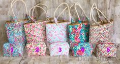 Lilly Pulitzer Inspired Totes/Monogrammed Beach Bag/Personalized Bag/Bridesmaids Gift/Accessory Bag/Make up…