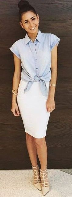 #fall #kookai #australia #outfits | Chambray Cuffed Shirt + Body Con Midi Skirt