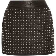 McQ Alexander McQueen Studded textured-leather mini skirt (4,415 SAR) ❤ liked on Polyvore featuring skirts, mini skirts, black, black zipper skirt, short mini skirts, mcq by alexander mcqueen, short skirts and black miniskirt