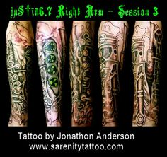 sleeve tattoo by Jonathon Anderson of Sarenity Tattoo Original Music, Sleeve Tattoos, Cool Tattoos, Tattoo Sleeves, Coolest Tattoo, Arm Tattoo, Nice Tattoos, Arm Tattoos, Shoulder Sleeve Tattoos