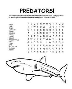 Predators Word Search. Repinned by Apples and Apps.