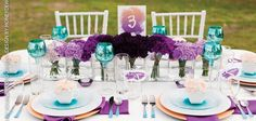 purple & turquoise. cute colors!throw a bit of green in there too, would be pretty