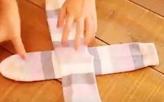 The right way to fold socks KonMari . Marie kondo magic of tidying Konmari, Folding Socks, Organization Hacks, Getting Organized, Space Saving, Good To Know, Cleaning Hacks, Helpful Hints, Household