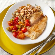 Top tilapia fillets with a savory tomato-olive sauce that comes together in just 5 minutes. http://blog.preventcancer.org/2013/healthy-recipe-tilapia-tomato-olive-sauce/