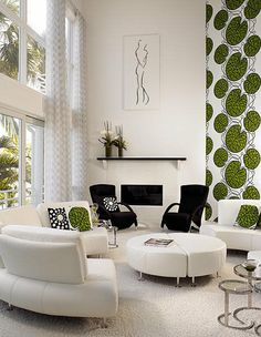 White Living Room with Green and Black Accents -