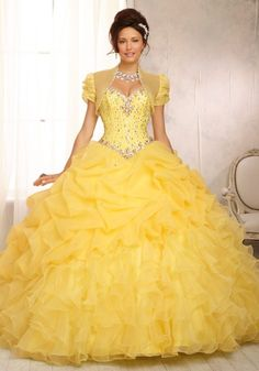 ff7aef7b0 Crystal Beaded Bodice on Ruffled Organza Skirt Quinceanera Dress Robes  Quinceanera