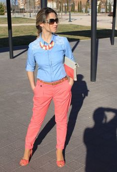 Discover this look wearing Zara Bags, Stradivarius Shirts, Zara Pants, Stradivarius Heels - coral and denim by Elenika styled for Denim, Everyday in the Spring Trendy Outfits, Fall Outfits, Summer Outfits, Cute Outfits, Fashion Outfits, Womens Fashion, Work Casual, Casual Chic, Casual Wear