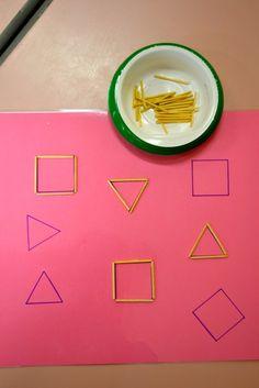 Les côtés des formes géométriques abordés  à l'aide d'allumettes à disposer