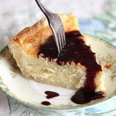 Buttermilk pie with warm blackberry sauce