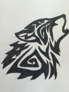 how to draw a howling tribal wolf step 6