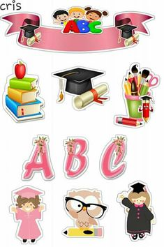 School Wall Decoration, Scrapbook Box, Kids Graphics, School Frame, Diy And Crafts, Paper Crafts, Paper Cake, Kids Stickers, Aesthetic Stickers