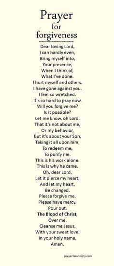 Prayer for forgiveness