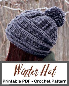 Make a cozy hat. Crochet hat pattern - womens hat- Make a winter hat - A Crafty Life #crochet #crochetpattern #crochethat