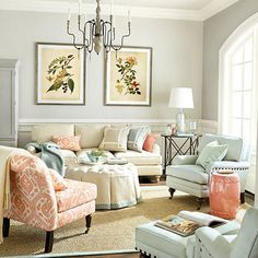 Holland Apricot Fabric by the Yard - love the chair and pillow fabric