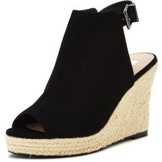 V By Very Cloud Espadrille Wedge Sandal (485 MXN) ❤ liked on Polyvore featuring shoes, sandals, black wedge espadrilles, black wedge shoes, espadrille wedge shoes, espadrille sandals and wedge sandals