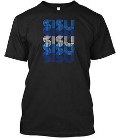 Sisu   Suomi Finland Distressed T Shirt Black T-Shirt Front