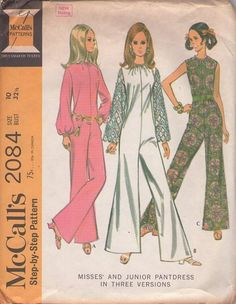 MOMSPatterns Vintage Sewing Patterns - McCall's 2084 Vintage 60's Sewing Pattern AB FAB Mod Hostess Pantdress, Galloon Lace Bell Sleeve ABBA Disco Catsuit