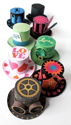 So cute!!! printable mini paper top hat templates for fun and parties happythought.co.uk/craft/printables/mini-top-hats/mini-paper-top-hats