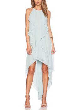Blue Ruffle High & Low Maxi Dress