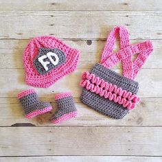 Crochet Baby Girl Firefighter Fireman Hat Helmet Boots Ruffled Diaper Cover Overalls Set Infant Newborn Photography Photo Prop Handmade Gift