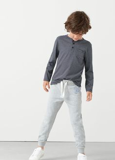 Mango logo jogging trousers -  Kids | MANGO Kids Ireland