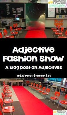 Show Get your students learning adjectives by having a fashion show!Get your students learning adjectives by having a fashion show! Teaching Grammar, Teaching Writing, Student Teaching, Teaching Tips, French Classroom, Classroom Fun, Classroom Activities, Future Classroom, French Teacher