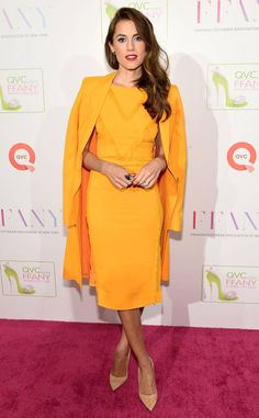 Allison Williams from The Best of the Red Carpet  Making a statement in yellow, the actress conquered two red carpets-the How to Dance in Ohio premiere and QVC's Shoes on Sale event-in this Altuzarra fringe dress and matching coat.